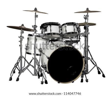 white drum kit in white back - stock photo