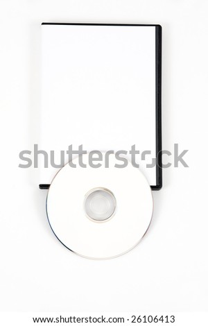 White DVD leaning on the bottom of a white case on a white background - stock photo