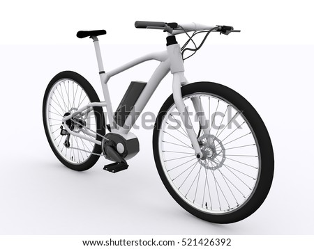 White E-Bike 3d rendering