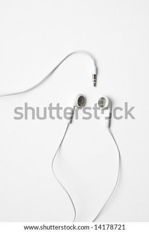 white ear phones - stock photo