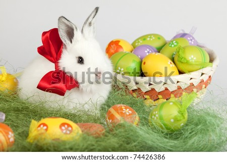 White Easter bunny with red bow on his neck is sitting on grass, next to a basket full of painted eggs. High resolution image taken in studio.