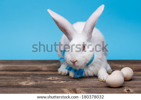 White easter rabbit with wooden egg  - stock photo