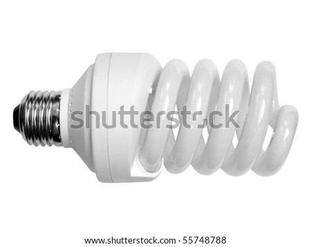 white economical  bulb on the white backgrounds - stock photo