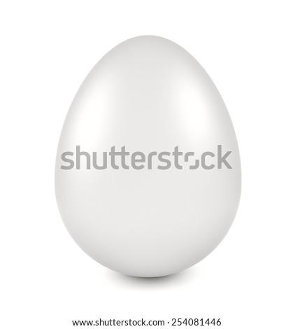 White egg - 3d illustration on white background - stock photo