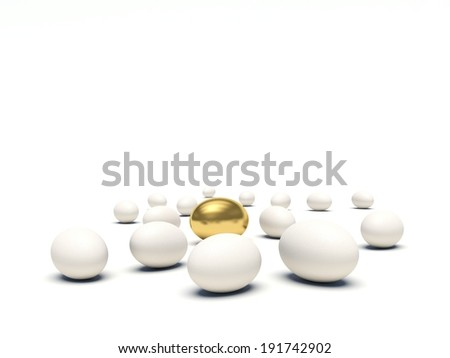 White eggs lying on the ground with golden egg among them. Empty space for your text. 3d render illustration. - stock photo