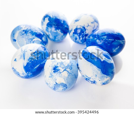 White Eggs with Blue Marble Color  - stock photo