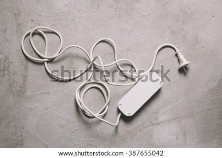 white electric extension cable - stock photo