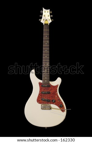 White Electric guitar with dark fretboard
