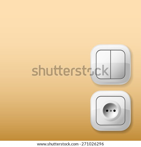 White Electric Switch and Socket on the wall. Illustration. - stock photo