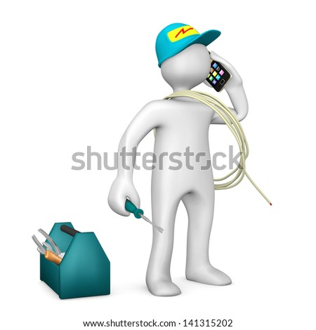 White electrician with smartphone and toolbox on the white background. - stock photo