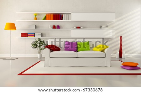 white elegant couch in a modern living room - stock photo
