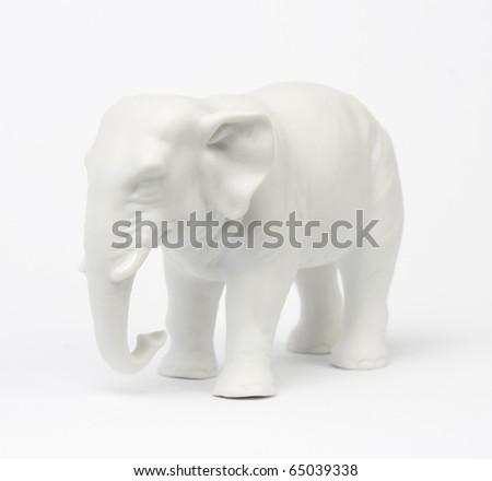 White elephant figure over white background. - stock photo
