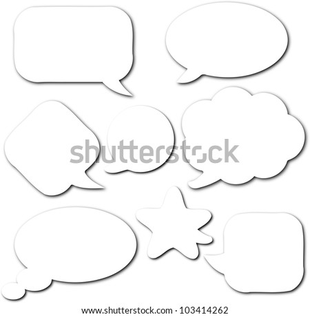 White empty and blank comic speech bubbles set with shadow on white background - stock photo