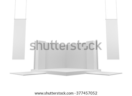 white empty blank booth or stall with hangers