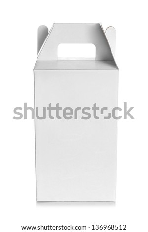 white empty box with handle isolated over a white background - stock photo