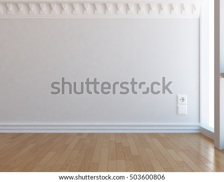 white empty classic room. Living room interior. Scandinavian interior. 3d illustration