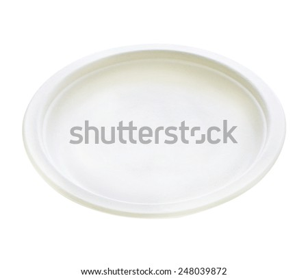 White empty clean paper plate on white background - stock photo