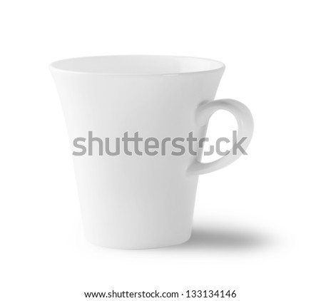 White empty cup isolated on a white background
