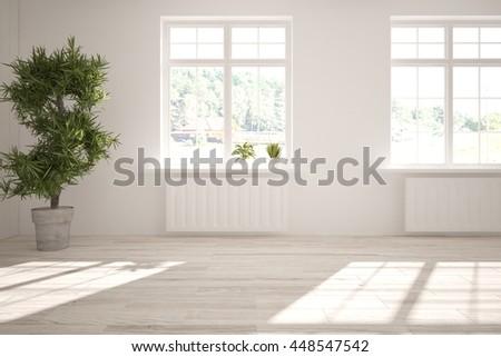white empty interior design. 3D illustration - stock photo