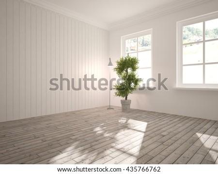 white empty interior design of living room.Scandinavian style.3D illustration - stock photo