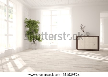 white empty interior design with shelf and flower. Scandinavian style. 3D illustration - stock photo