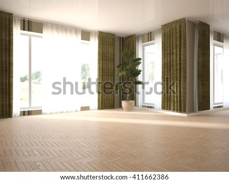 white empty interior of living room with green flower - 3D illustration