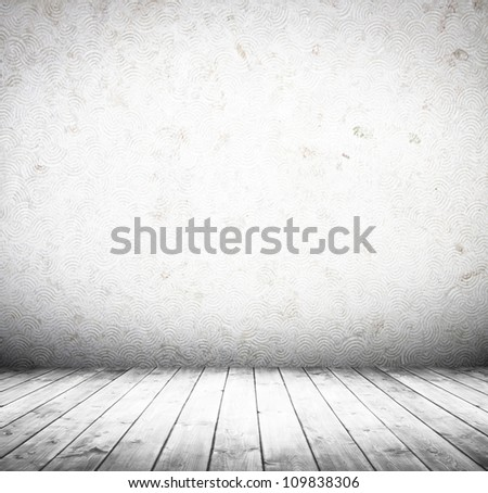 white empty interior of vintage room without ceiling from grey grunge stone wall and old wood floor. - stock photo