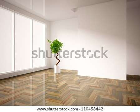 white empty interior with a green tree - stock photo