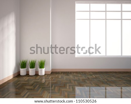 white empty interior  with grass in vases - stock photo