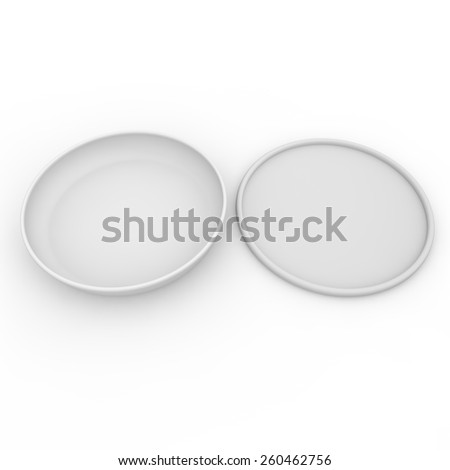 White empty jar with a lid for fish oil, salads and other products and goods - stock photo