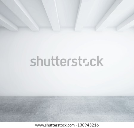 white empty loft room and wood floor - stock photo