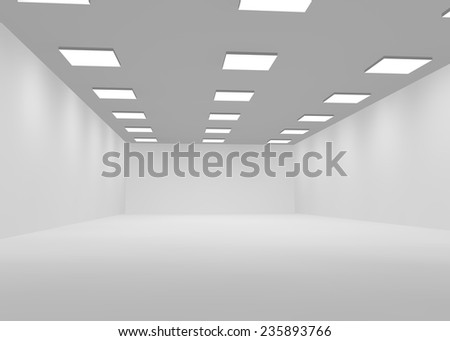 White empty office room lit with bright lights - stock photo
