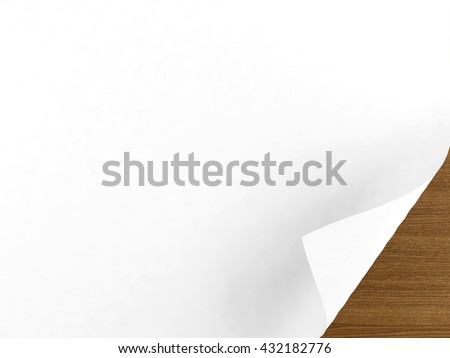 White empty paper background with curl page at bottom right corner, brown wooden background, 3D rendering