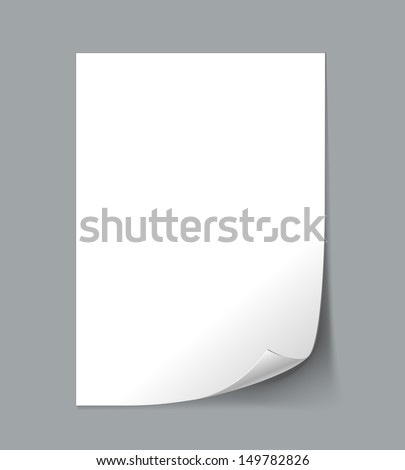 White Empty paper sheet with curl. See also vector version - stock photo