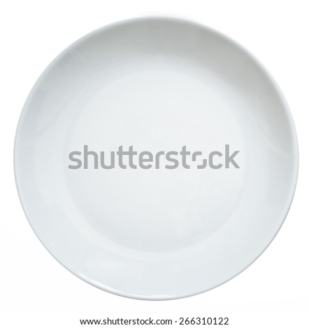 white empty plate on a white background - stock photo
