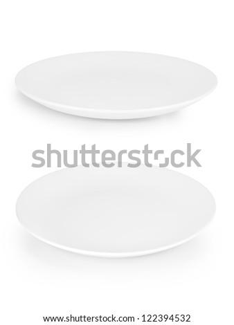 white empty plate set isolated - stock photo