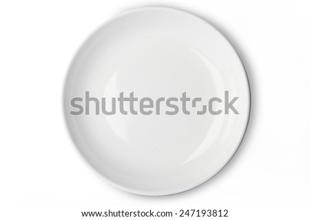 White empty plate top view isolated on white background. This has clipping path included. - stock photo