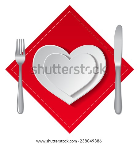 White empty plates in heart shape with fork, spoon and knife on a white background. - stock photo