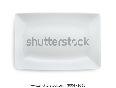 White empty rectangular plate isolated on white - stock photo