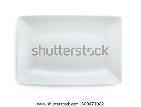 White empty rectangular plate isolated on white - stock photo
