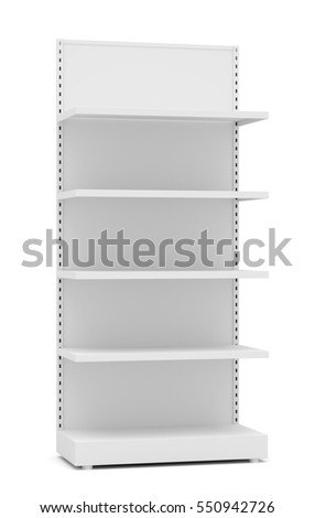 White Empty Retail Shelves. Front View. Isolated On White Background. 3D Illustration