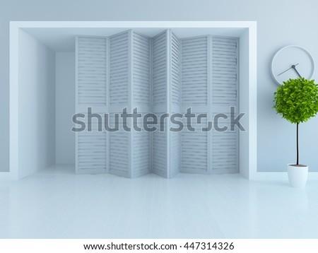 White empty room interior. Living room interior. Scandinavian interior. 3d illustration - stock photo