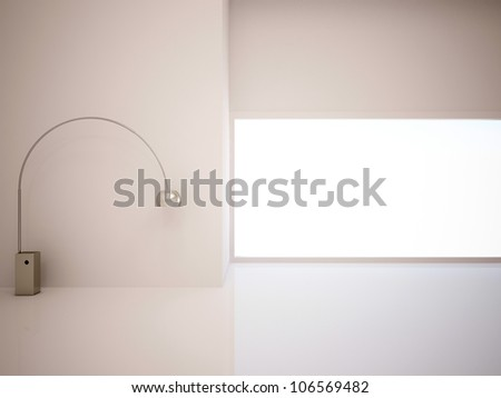 white empty room with a lamp - stock photo