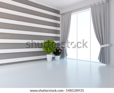 white living room curtains. white empty room with curtains  Living interior Scandinavian design 3d illustration White Empty Room Curtains Stock Illustration 548528935