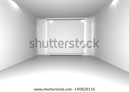 White Empty Room With Decorate Wall., Interior Design
