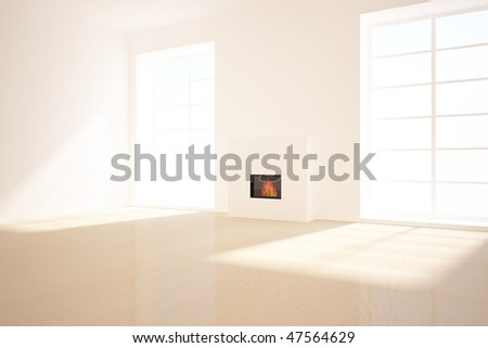 white empty room with fire - stock photo