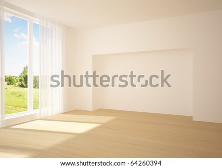 white empty room with nature view - stock photo
