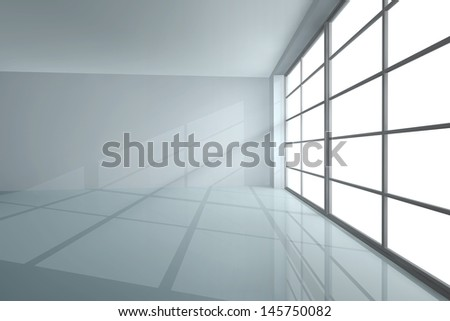 White empty room with shadow from a large window - stock photo