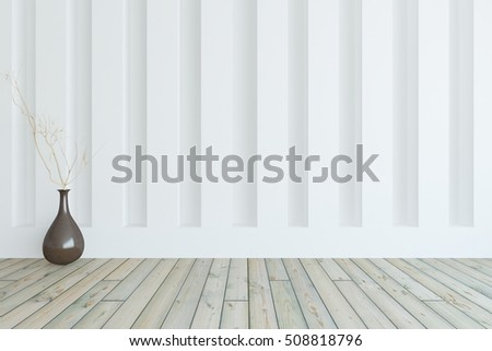 White empty room with vase. Scandinavian interior. 3D illustration