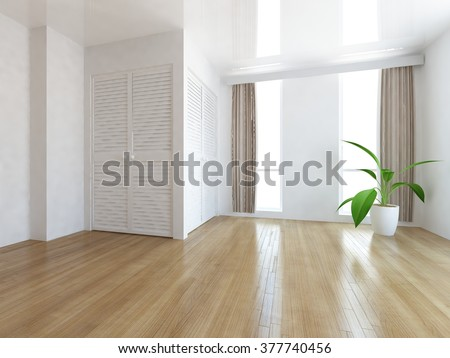 white empty room with wardrobe. 3d concept - stock photo